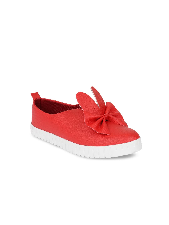 Shoetopia Women Red Slip On Sneakers