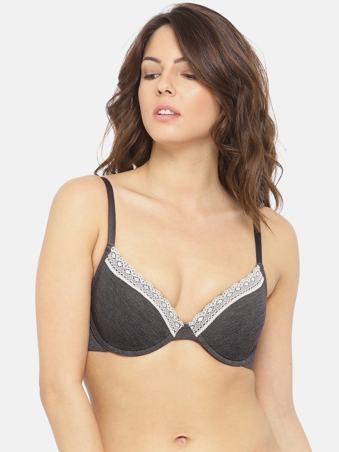018edb58019 Bwitch Charcoal Grey Solid MUSHY Underwired Lightly Padded T-shirt Bra