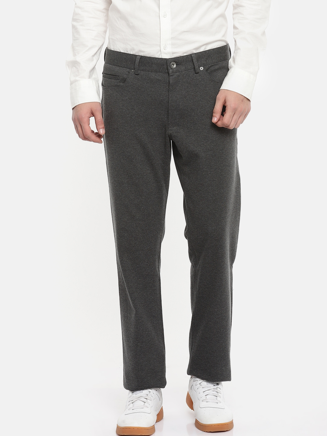 8ee668cfb25a Calvin Klein Jeans Men Charcoal Grey Slim Fit Solid Regular Trousers