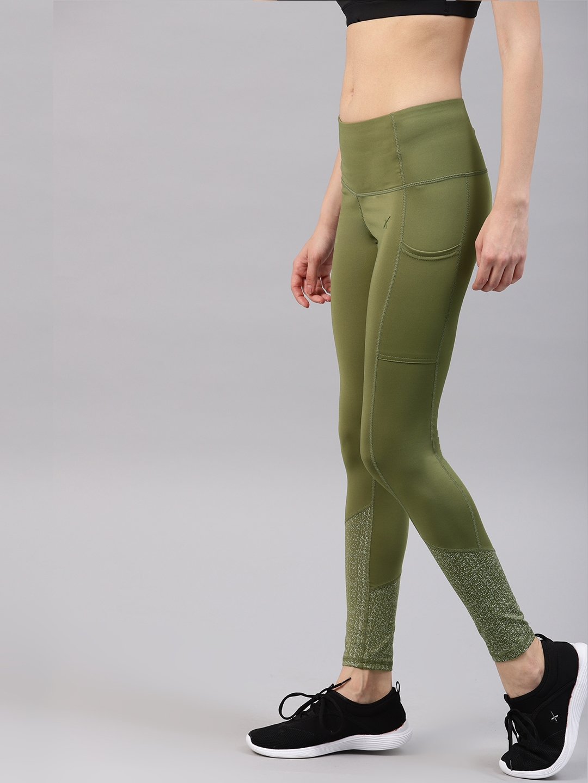 3dc6c6f9f Buy HRX By Hrithik Roshan Women Olive Green Solid Rapid Dry Running ...
