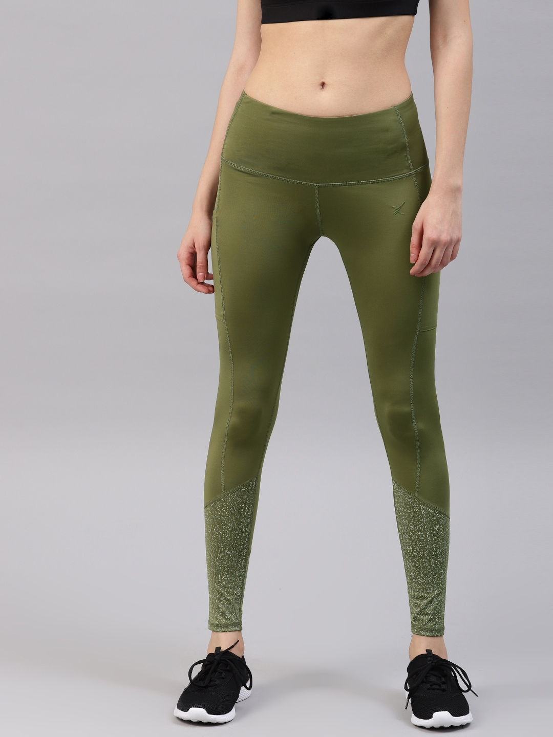 2f3ac7896 HRX by Hrithik Roshan Women Olive Green Solid Rapid-Dry Running Cropped  Tights