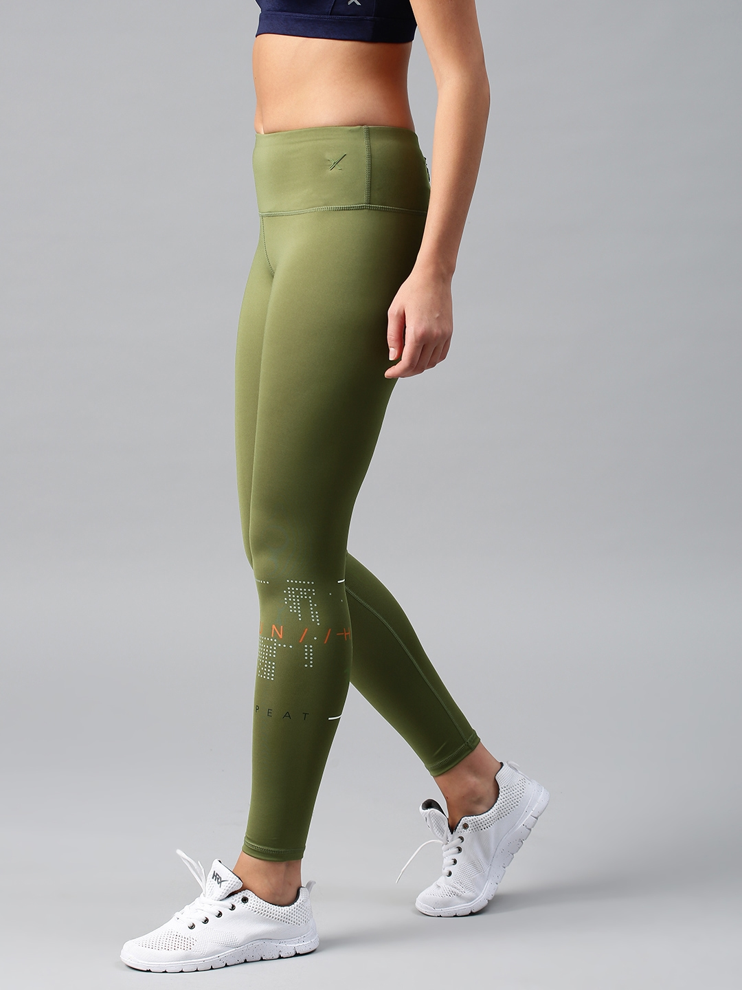 e14f18b1a HRX by Hrithik Roshan Women Olive Green Rapid-Dry Cropped Running Tights