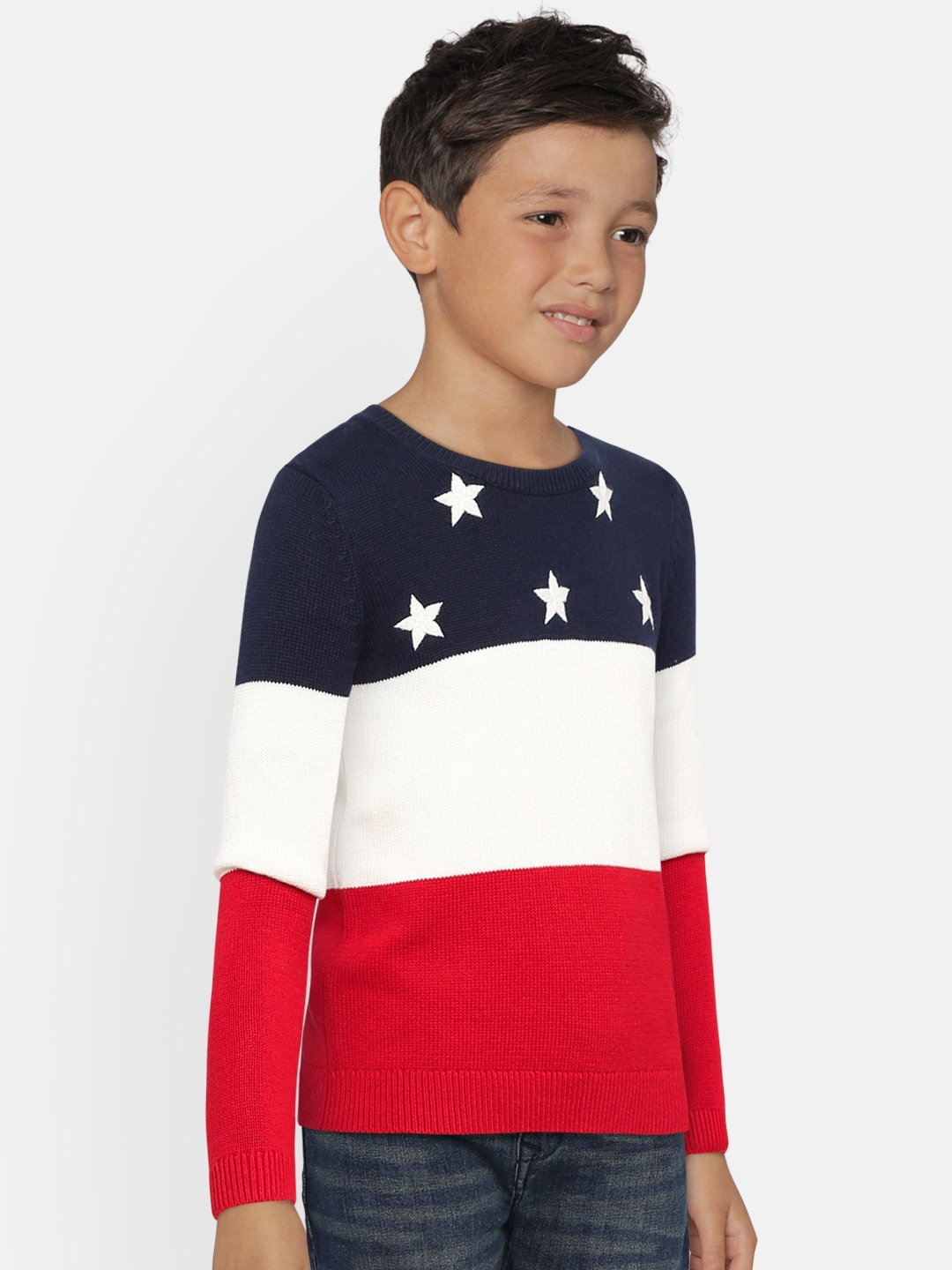 9a0b650f6dd Buy Tommy Hilfiger Girls Navy Blue   White Self Design Pullover ...