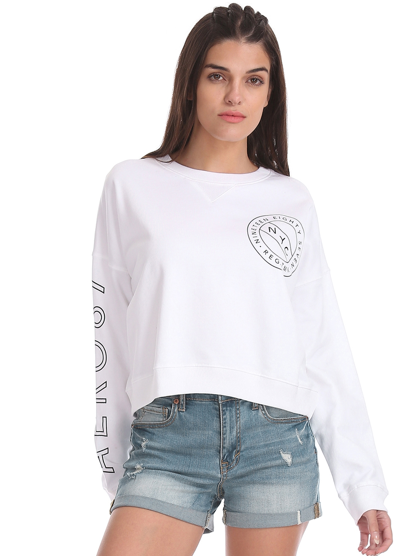 Aeropostale Women White Solid Sweatshirt