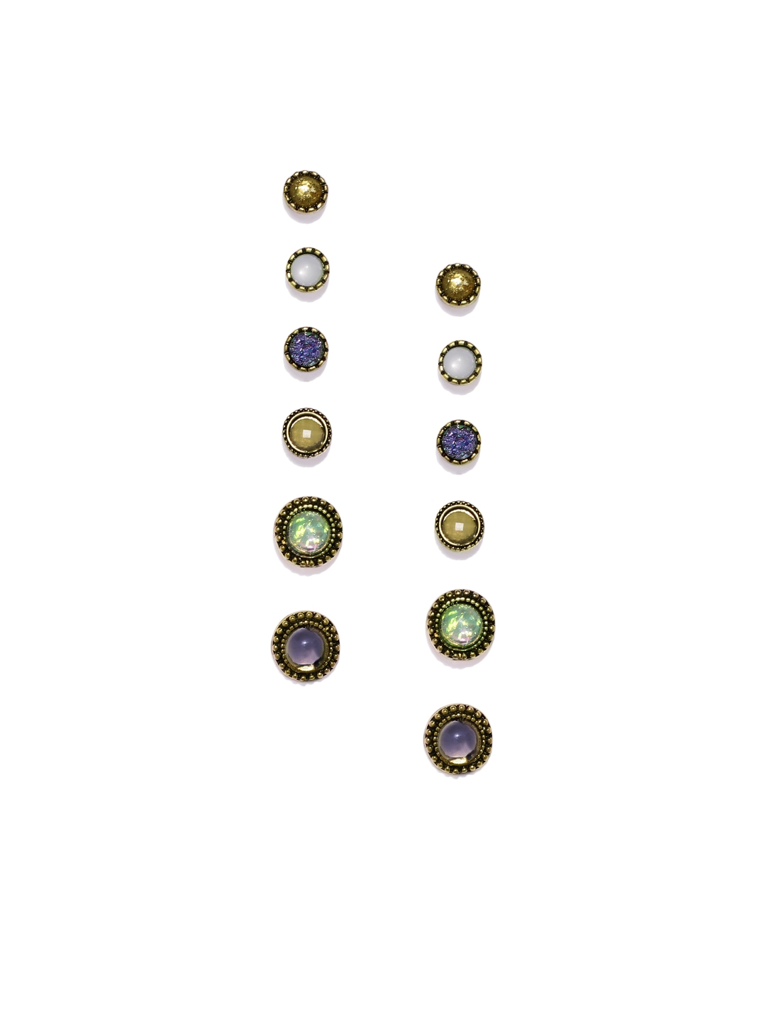 Golden Peacock Multicoloured Pack Of 6 Sets Circular Studs
