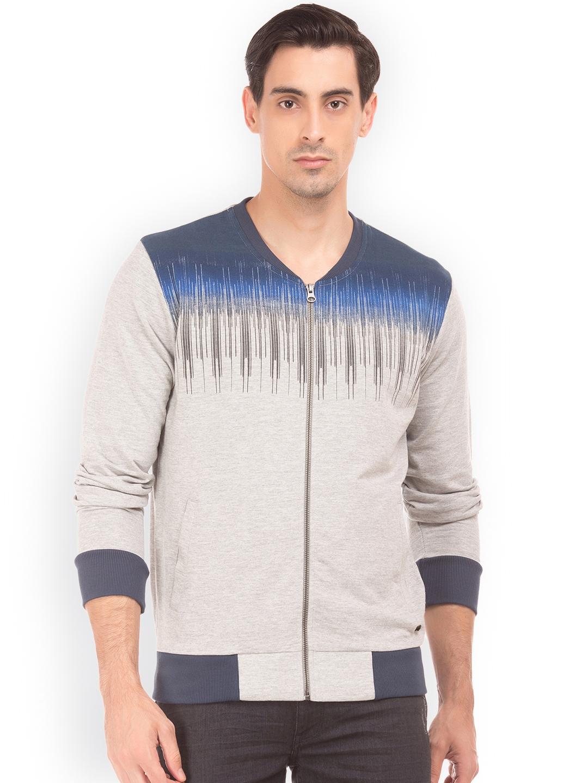 Arrow New York Men Grey Melange Printed Sweatshirt