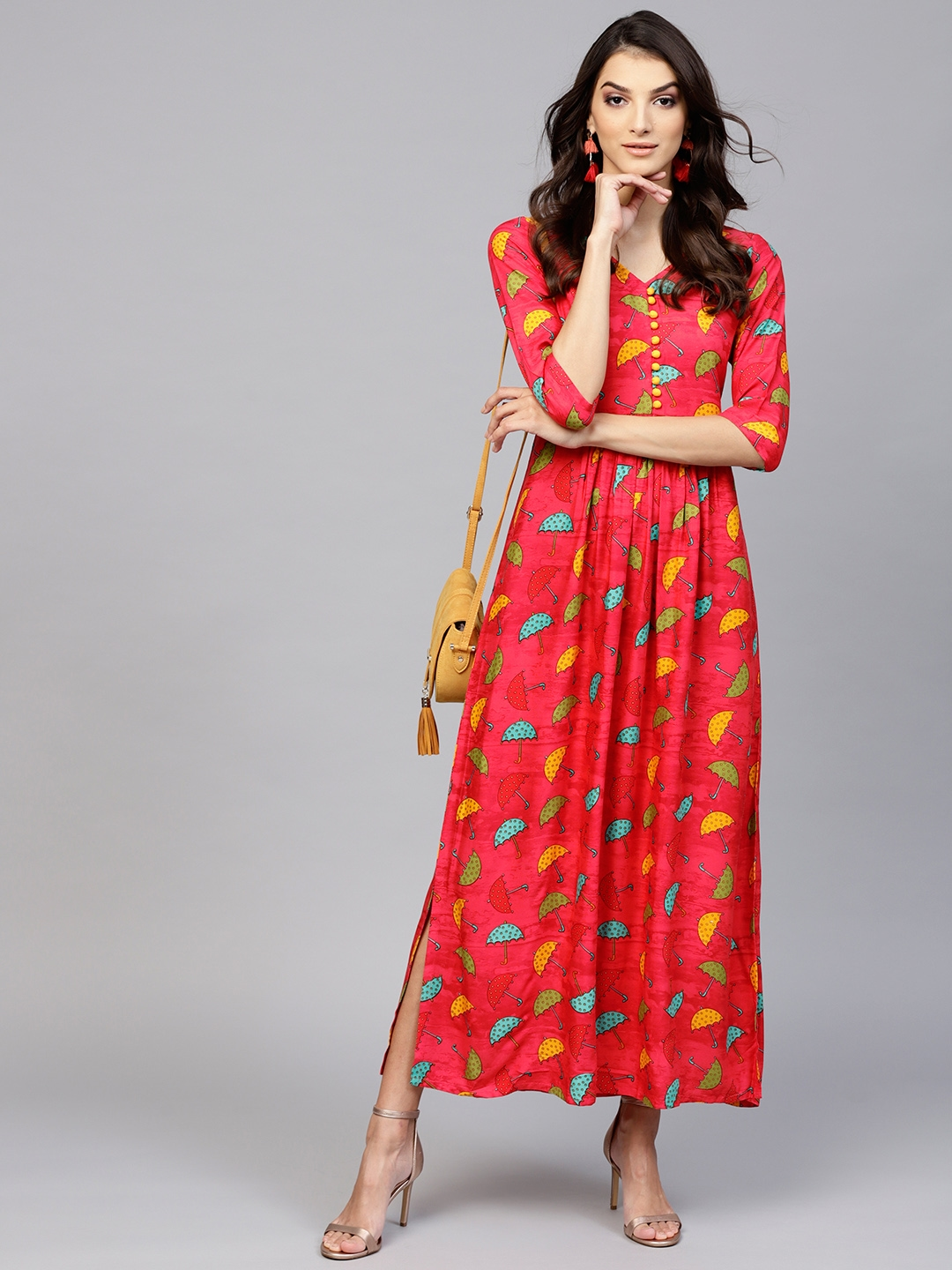 e10f76778f Buy Libas Women Red & Yellow Printed Maxi Dress - Dresses for Women ...