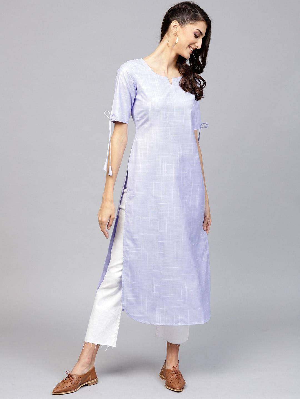 Libas Women Lavender   White Solid Straight Kurta