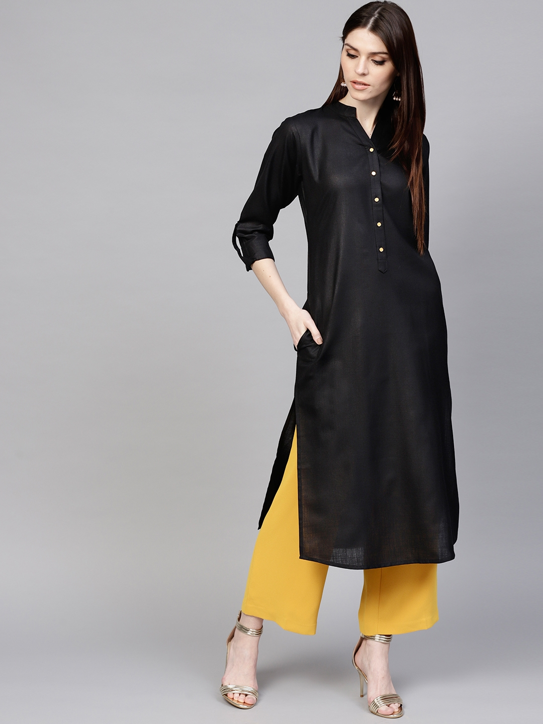 Libas Women Black Solid Straight Kurta
