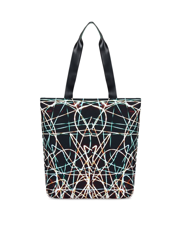 Anekaant Black   Sea Green Printed Tote Bag Anekaant Handbags