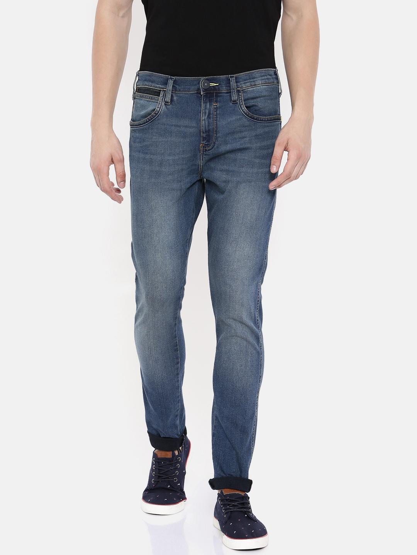 9cea8d94 Wrangler Men Blue Bostin Slim Fit Mid-Rise Clean Look Stretchable Jeans