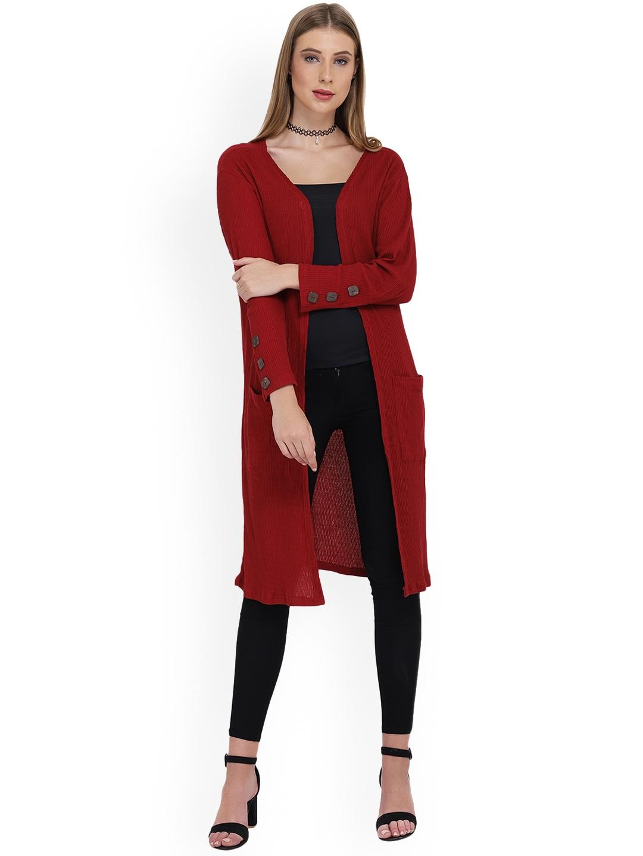 PURYS Women Red Solid Open Front Longline Shrug