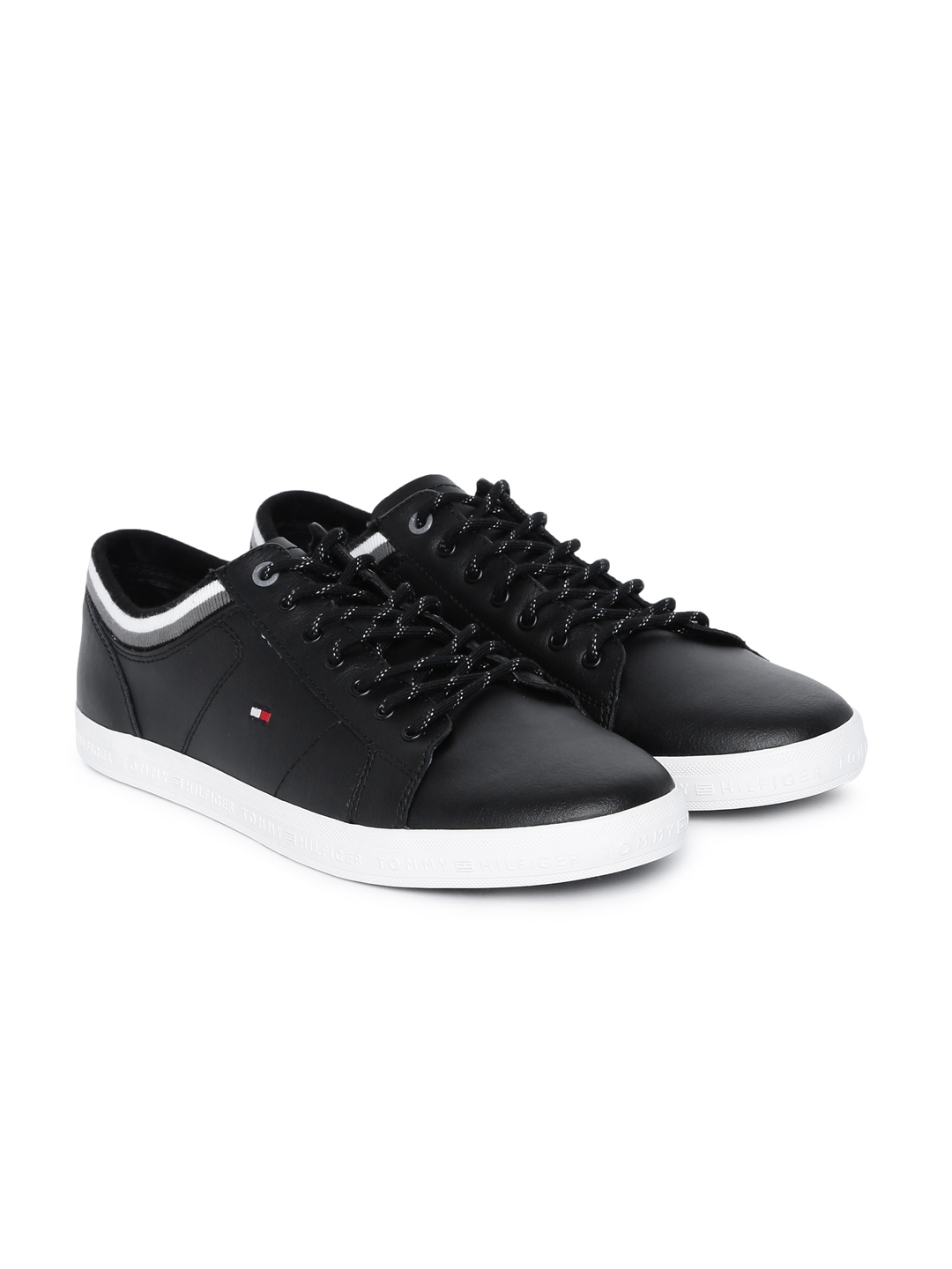 4fd617934e21 Buy Tommy Hilfiger Men Black Leather Sneakers - Casual Shoes for Men ...