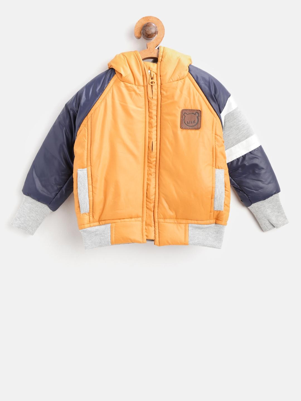 a6211aec5 Little Kangaroos Boys Mustard Yellow Solid Hooded Bomber Jacket