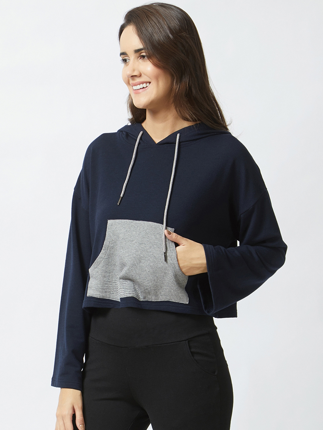 Mystere Paris Women Navy Blue Solid Hooded Sweatshirt