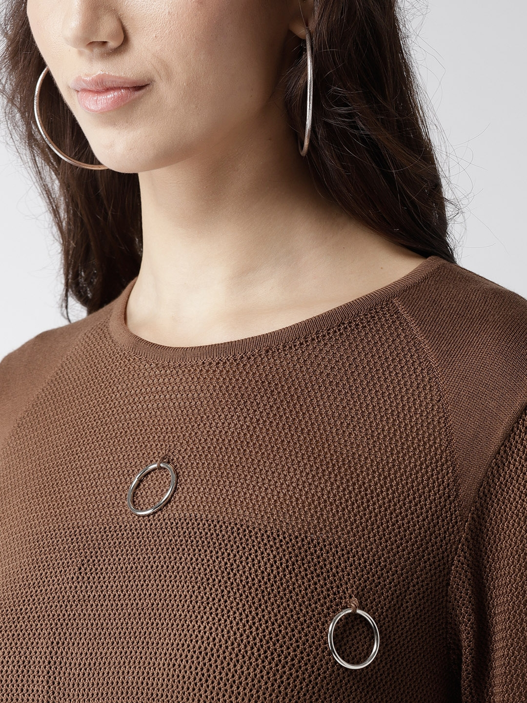Buy Madame Women Brown Embellished Pullover Sweaters For Women