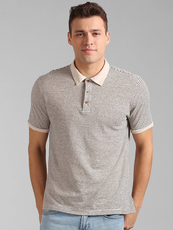 1e0ff02093 Buy GAP Men White Short Sleeve Polo Shirt Striped Linen Cotton ...