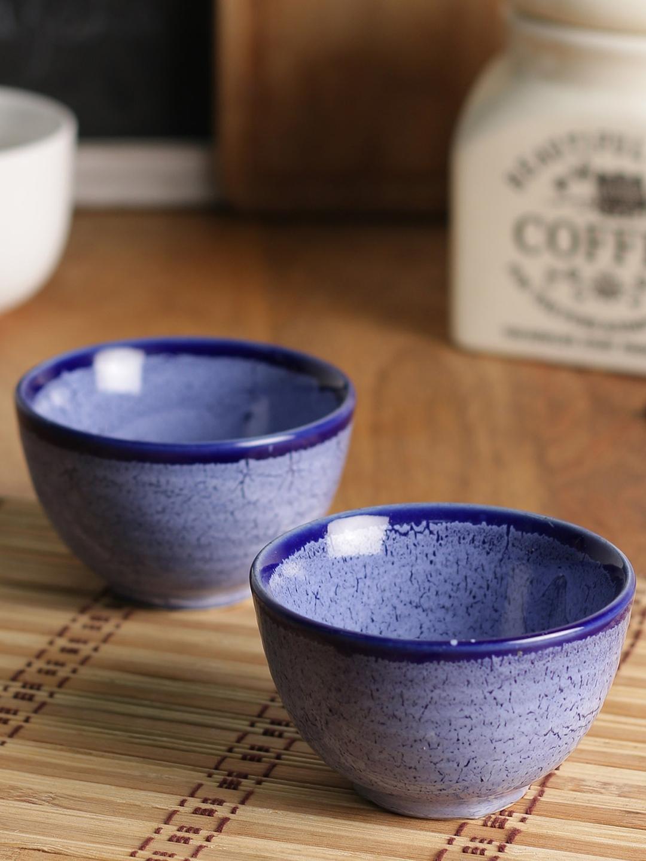 MIAH Decor Set Of 2 Blue Printed Ceramic Bowls Set