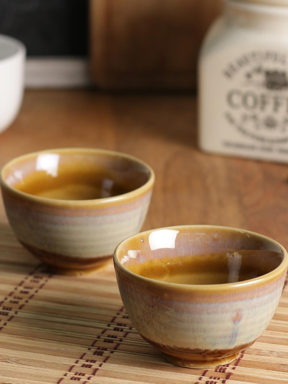MIAH Decor Set Of 2 Brown Printed Ceramic Bowls Set