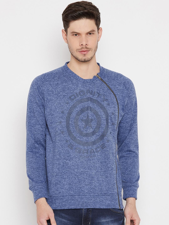 Duke Men Blue Printed Sweatshirt