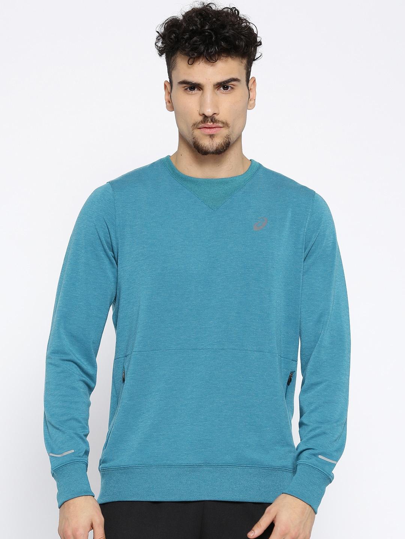 ASICS Men Teal Blue Solid Crew Sweatshirt