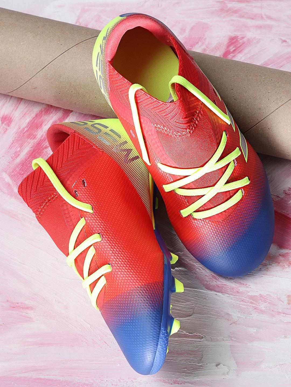 ADIDAS Boys Red   Blue NEMEZIZ Messi 18.3 FG Colourblocked Football Shoes