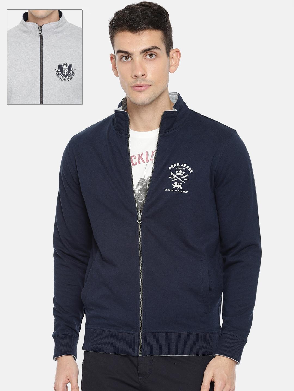 Pepe Jeans Men Navy Blue   Grey Printed Reversible Sweatshirt