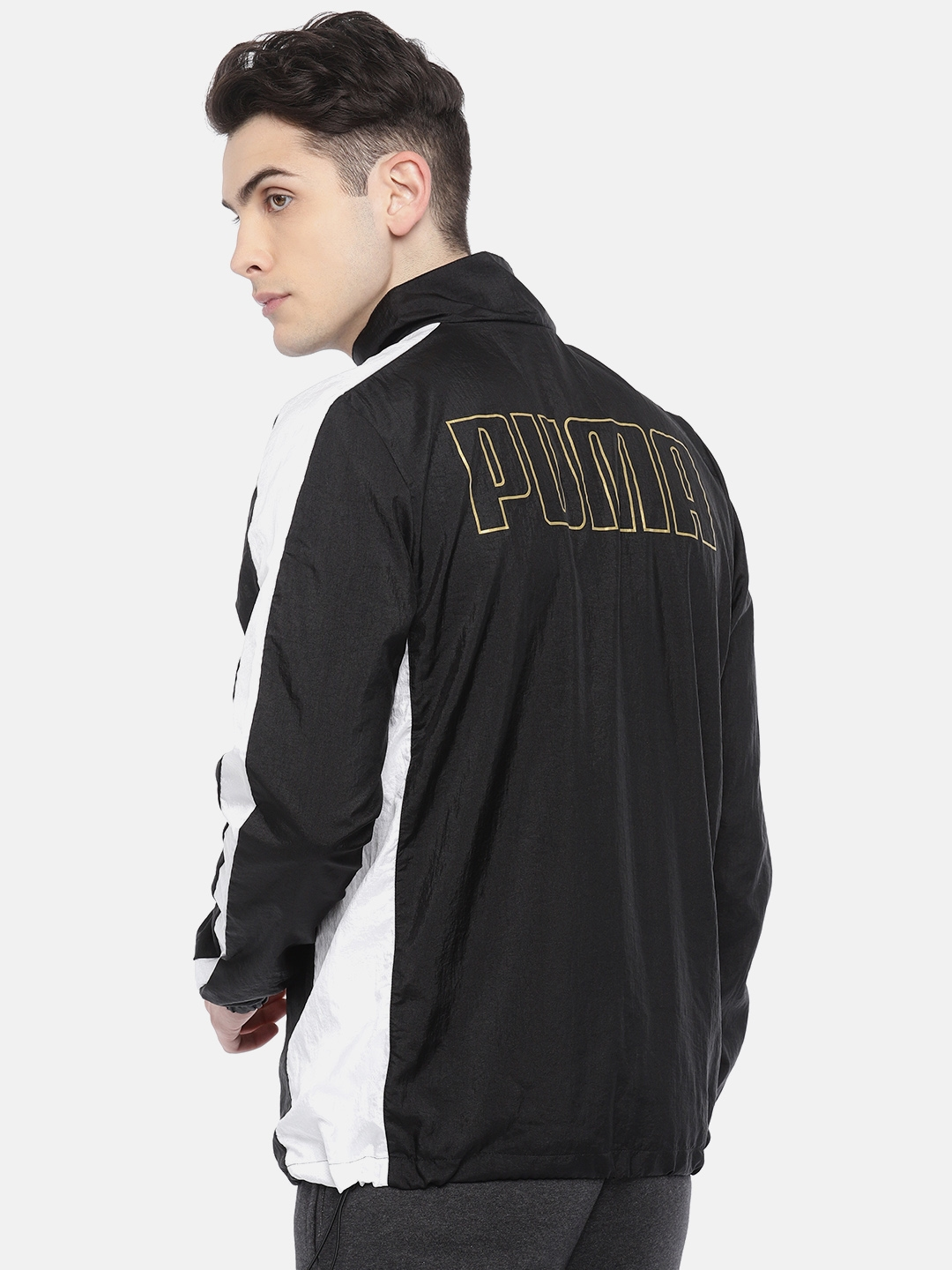 8b61b5d6608d6e Buy Puma Men Black   White Colourblocked T7 BBoy Track Jacket ...