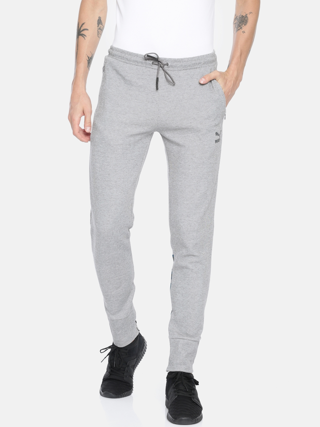 400160af8 Buy Puma Men Grey Melange Solid VK Knitted Joggers - Track Pants for ...