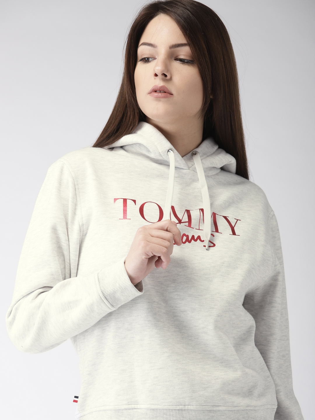 56b3f390 Buy Tommy Hilfiger Women Grey Printed Hooded Sweatshirt ...