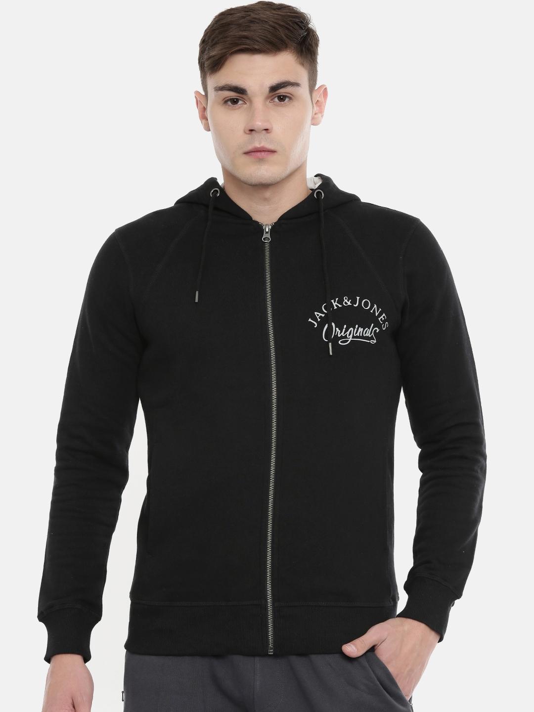 Jack   Jones Men Black Solid Hooded Sweatshirt
