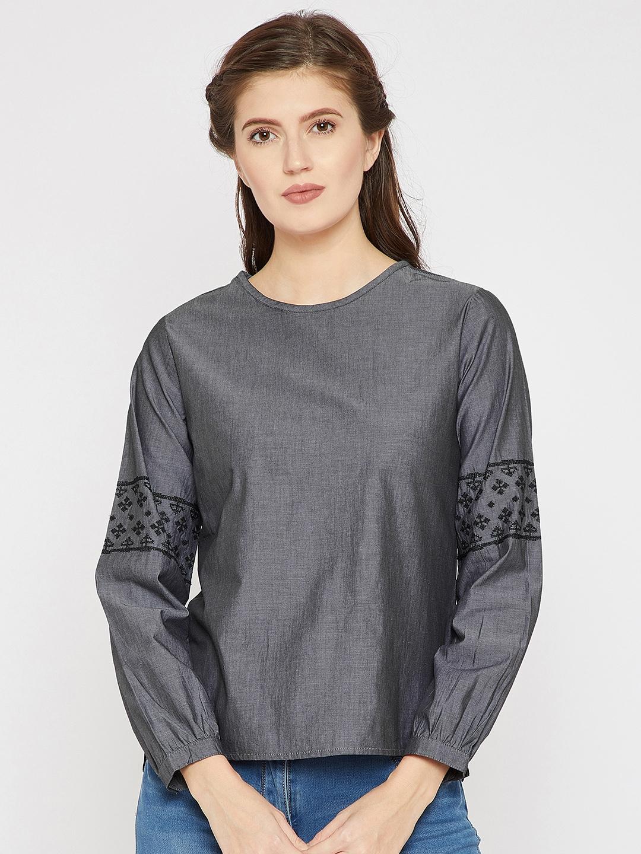 RARE Women Grey Solid Top