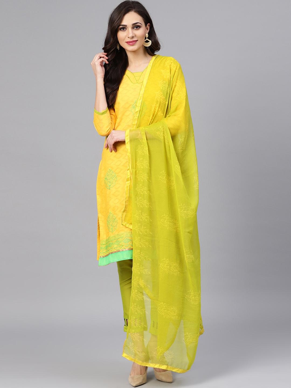 b16c806ca0 Buy Saree Mall Yellow   Green Unstitched Dress Material - Dress ...