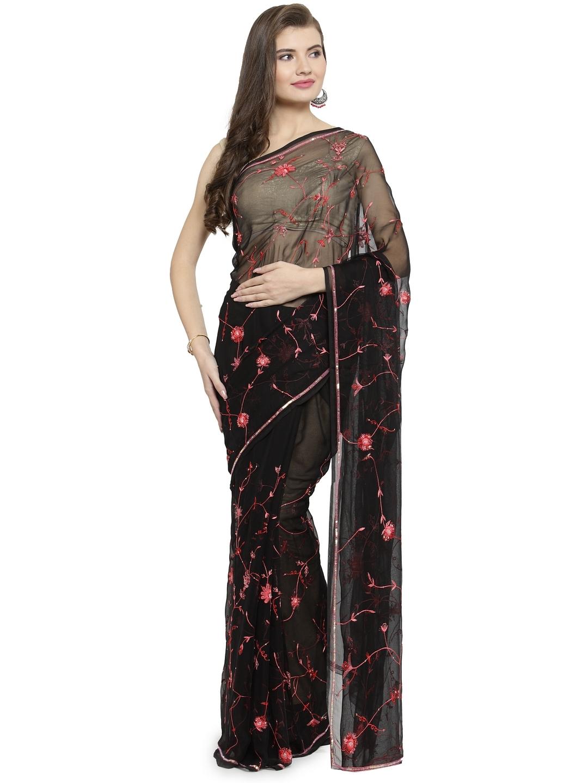 0f525e802a Buy Geroo Jaipur Black Embroidered Pure Chiffon Saree - Sarees for ...
