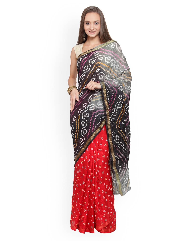 88a9fce2de Buy Geroo Jaipur Black & Red Art Silk Printed Bandhani Saree ...
