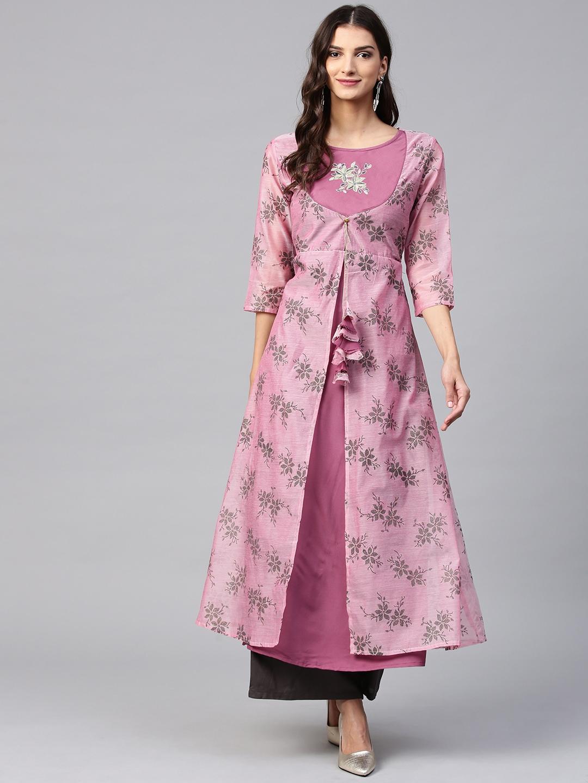 Buy Yufta Women Pink Mauve Printed Layered A Line Kurta Kurtas