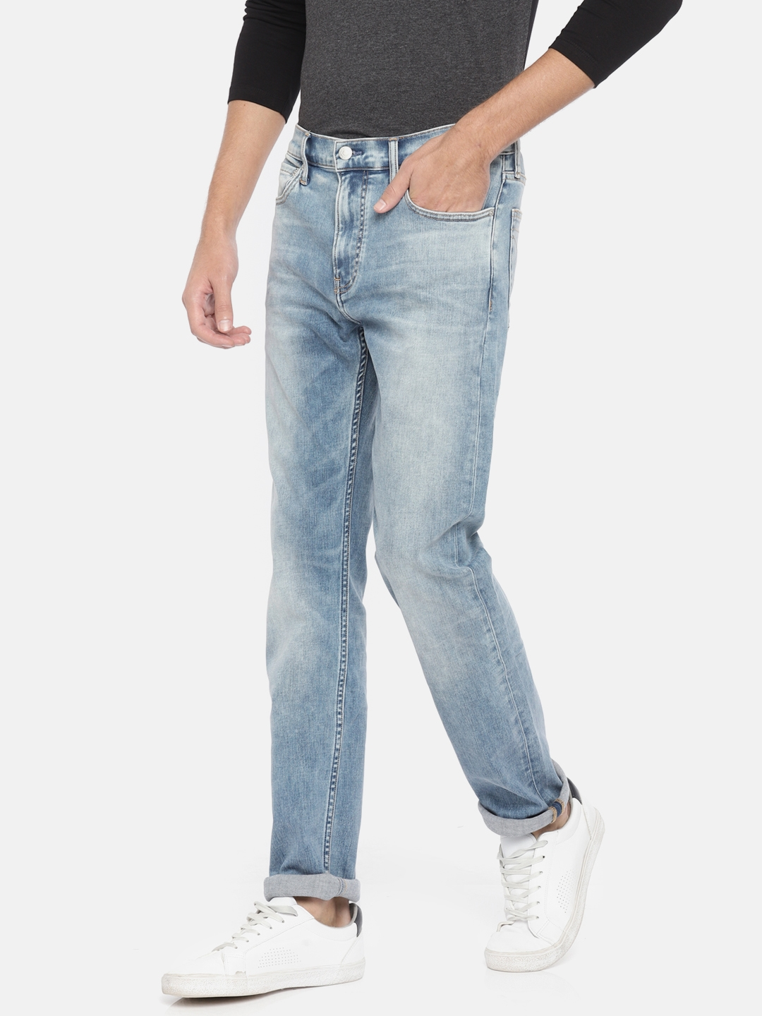 51ef4171 Buy Calvin Klein Jeans Men Blue Slim Fit Mid Rise Clean Look Stretchable  Jeans - Jeans for Men 7766785 | Myntra