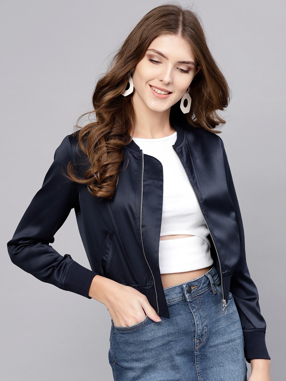 Buy STREET 9 Women Black Solid Satin Bomber Jacket - Jackets for Women  7772555 | Myntra