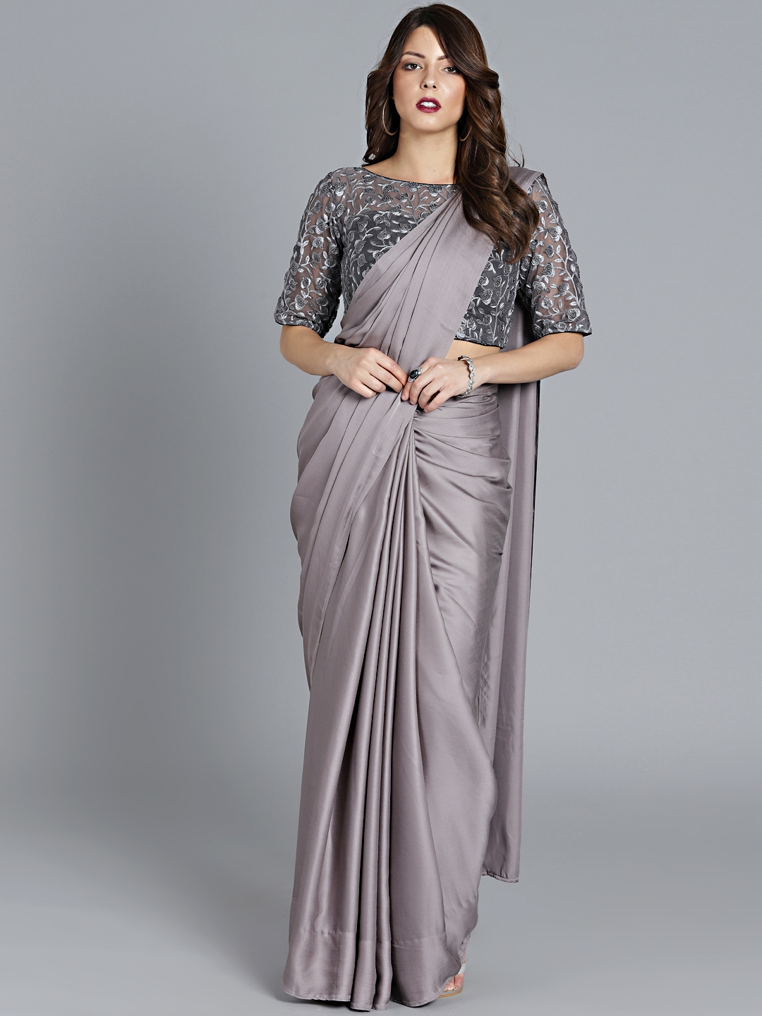 c2d9c7c622 Buy Bollywood Vogue Grey Embroidered Saree With Stitched Blouse ...