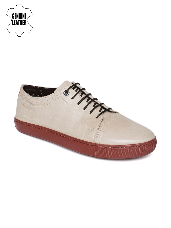Buy Ruosh Men Beige Genuine Leather