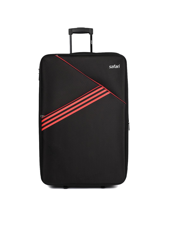 Safari Unisex Angle Black 2 Wheel Check in Soft Luggage Medium Trolley Bag