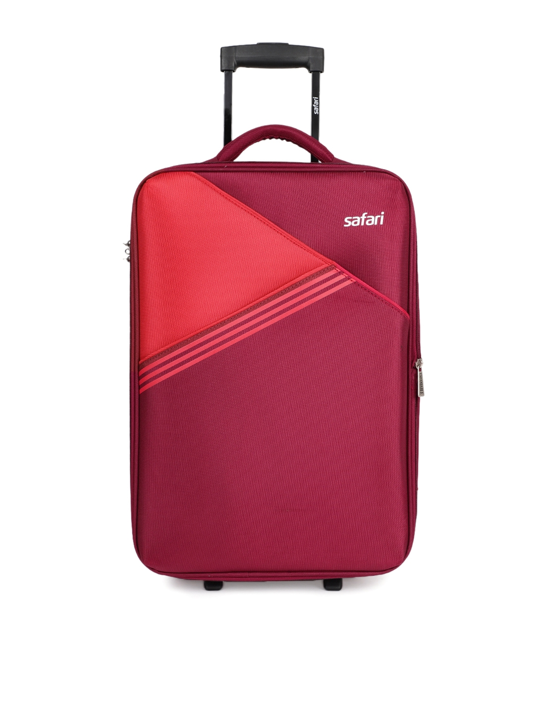 Safari Unisex Red Angle 2 Wheel Cabin Soft Luggage Trolley