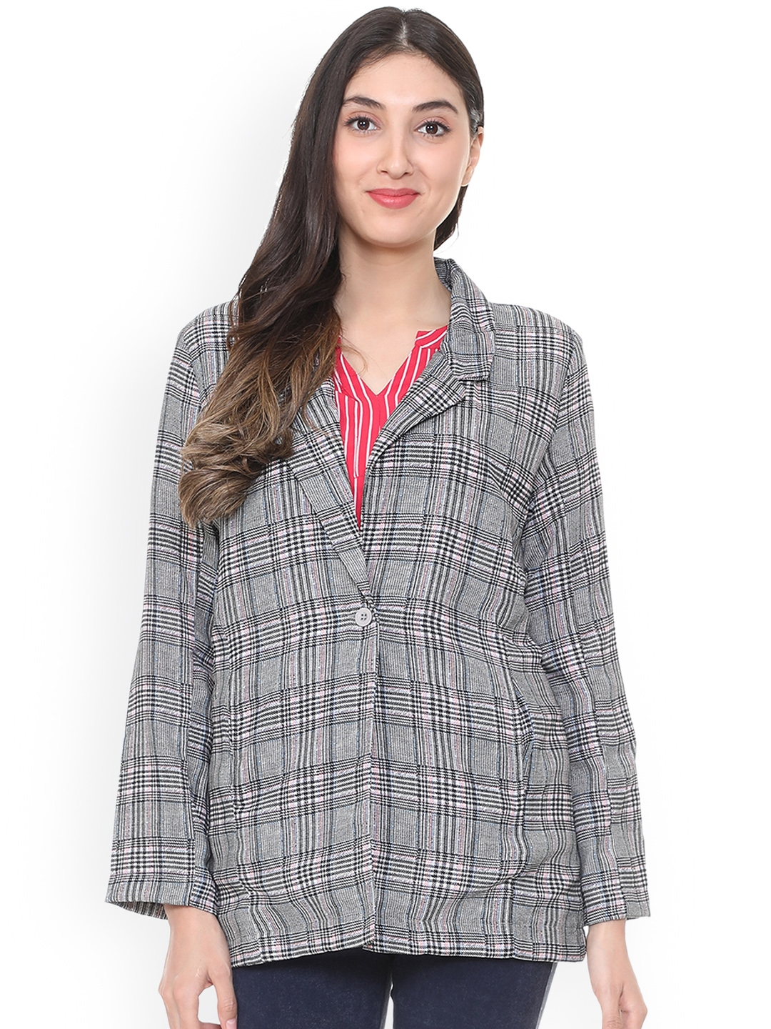 People Women Grey Checked Tailored Jacket