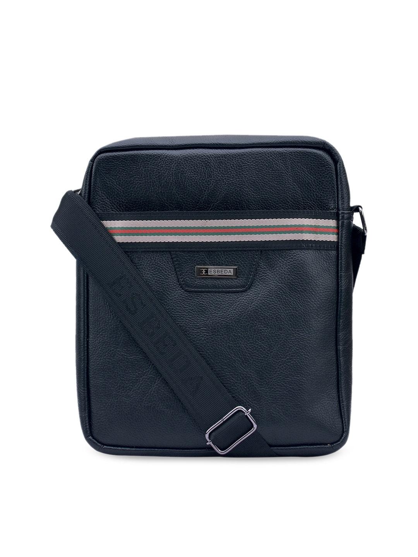 ESBEDA Black Textured Messenger Bag