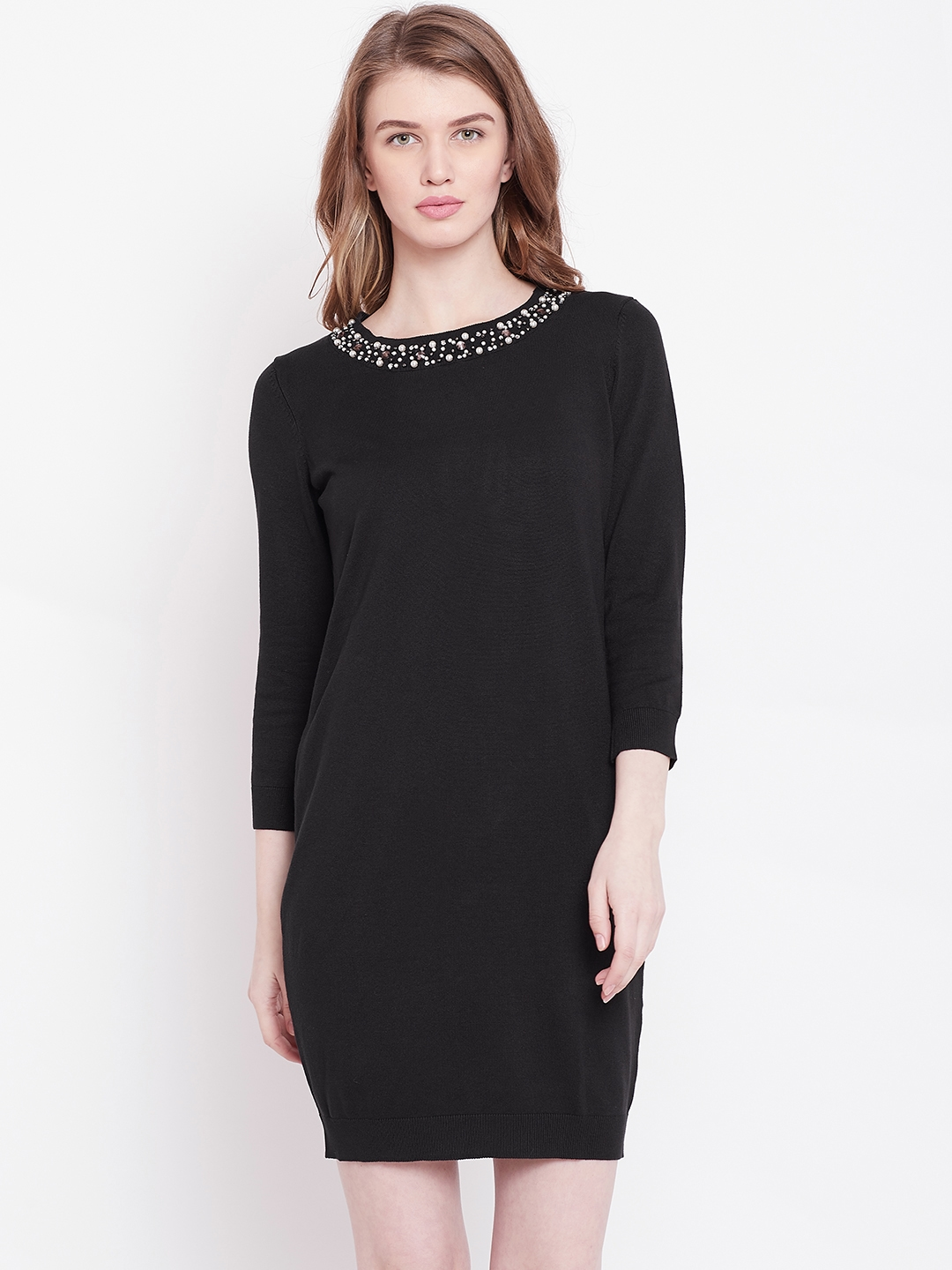 0689dae285f Buy OVS Women Black Solid Sweater Dress With Embellished Detail ...