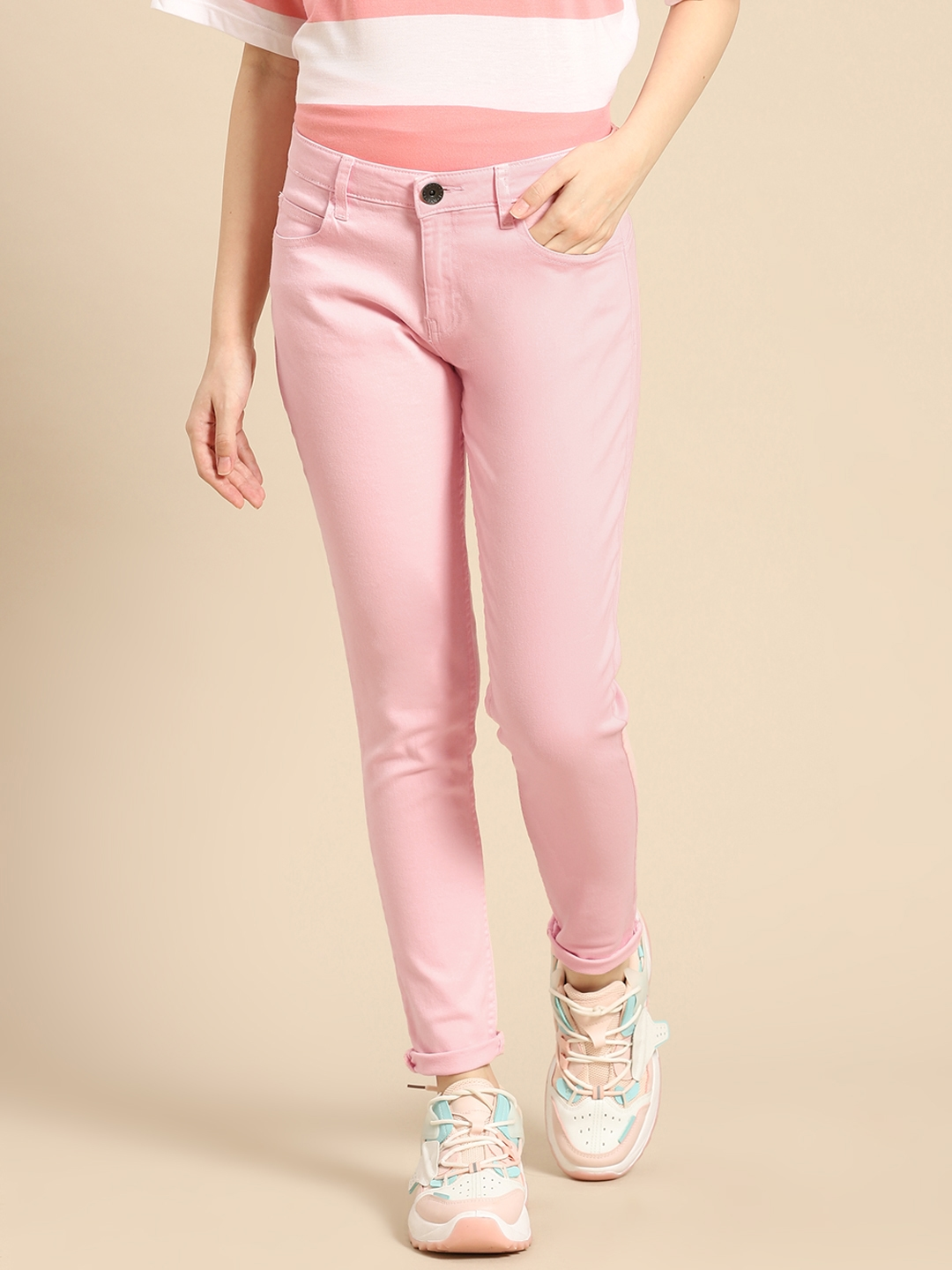 United Colors of Benetton Women Pink Skinny Fit Stretchable Jeans