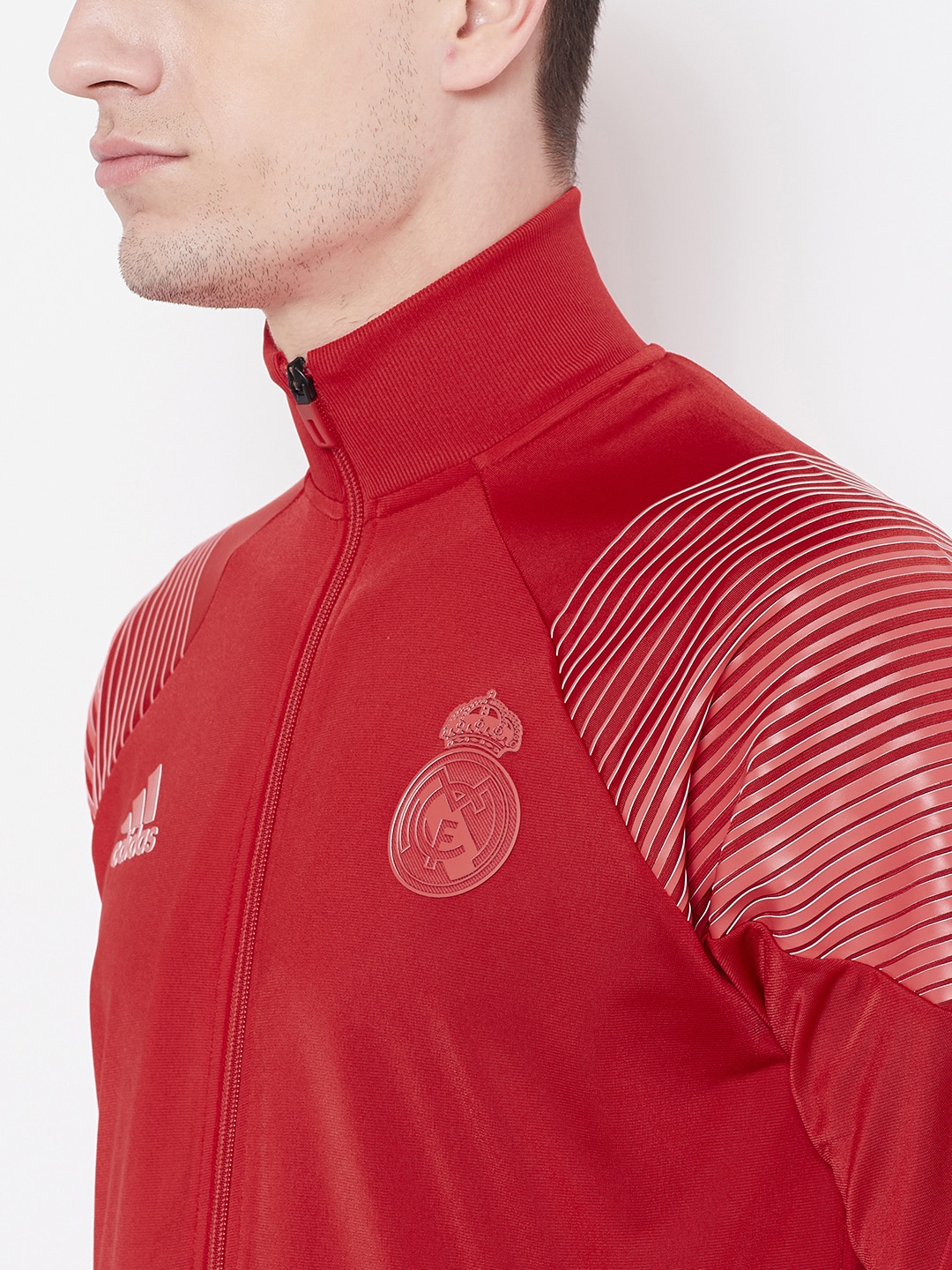 9221abffd901 Buy ADIDAS Men Red Real Madrid Icon Solid Lightweight Sporty Jacket ...