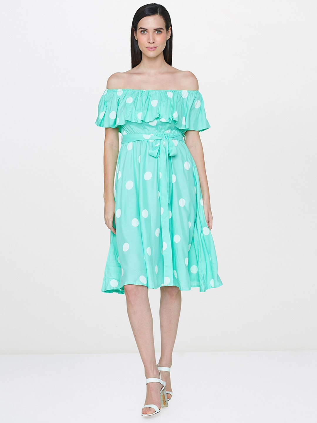 68e6ced56499 Buy AND Women Green Printed Fit And Flare Off Shoulder Dress ...