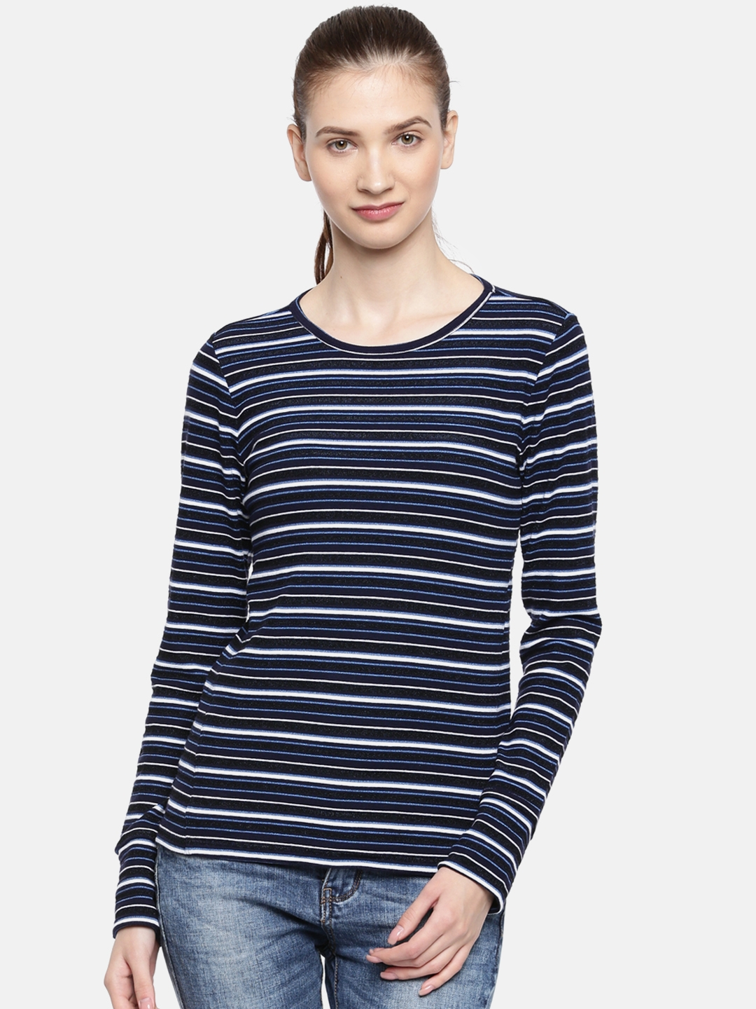 f6deacdbcf Buy GAP Women Navy Blue Striped Round Neck T Shirt - Tshirts for ...