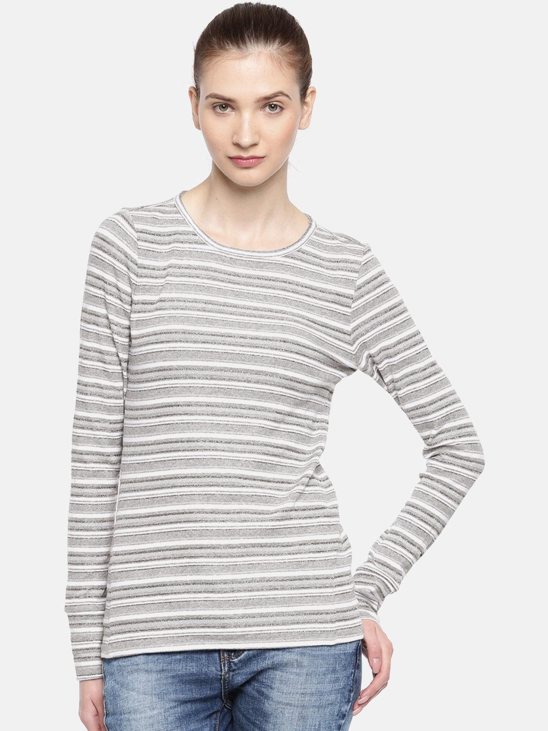 4ed70c31a8 Buy GAP Women Grey Striped Round Neck T Shirt - Tshirts for Women ...